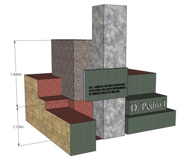 Elevação 3d indicando a caixa de concreto onde se encontrava o ataúde de D. Amélia