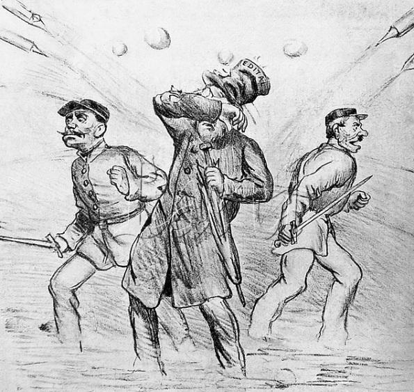 Charge de Angelo Agostini a respeito do entrudo. Carnaval de 1883.